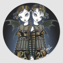 sienna, celeste, twins, dragons, gothic, latern, incense, gold, amber, braid, fairy, faery, fae, faerie, faeries, fairies, fantasy, art, big, eyed, gemini, myka, jelina, mika, acrylic, Sticker with custom graphic design