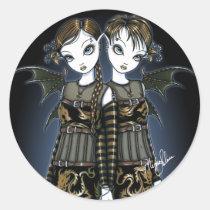 sienna, celeste, twins, dragons, gothic, latern, incense, gold, amber, braid, fairy, faery, fae, faerie, faeries, fairies, fantasy, art, big, eyed, gemini, myka, jelina, mika, acrylic, Sticker with custom graphic design