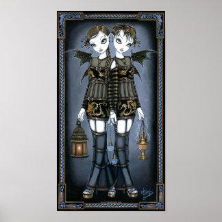 Sienna & Celeste Gothic Dragon Twins Fairy Poster