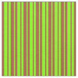 [ Thumbnail: Sienna & Chartreuse Stripes Fabric ]