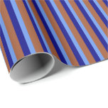 [ Thumbnail: Sienna, Cornflower Blue, and Blue Pattern Wrapping Paper ]