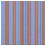 [ Thumbnail: Sienna & Cornflower Blue Lined/Striped Pattern Fabric ]