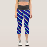 [ Thumbnail: Sienna, Cyan, Beige, and Dark Blue Stripes Leggings ]