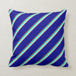 [ Thumbnail: Sienna, Cyan, Beige, and Dark Blue Stripes Pillow ]