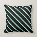 [ Thumbnail: Sienna, Cyan, Beige & Black Pattern of Stripes Throw Pillow ]