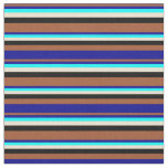 [ Thumbnail: Sienna, Dark Blue, Cyan, Beige & Black Colored Fabric ]