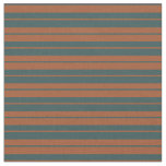 [ Thumbnail: Sienna & Dark Slate Gray Stripes/Lines Pattern Fabric ]