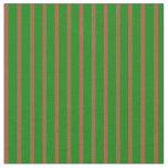 [ Thumbnail: Sienna & Green Colored Striped Pattern Fabric ]