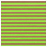 [ Thumbnail: Sienna & Green Colored Stripes Fabric ]
