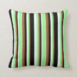 [ Thumbnail: Sienna, Green, Mint Cream, and Black Colored Throw Pillow ]