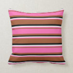 [ Thumbnail: Sienna, Hot Pink, White, and Black Stripes Pillow ]
