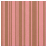 [ Thumbnail: Sienna & Light Coral Colored Lines Fabric ]