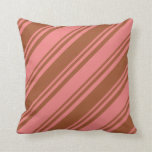 [ Thumbnail: Sienna & Light Coral Colored Lines Throw Pillow ]