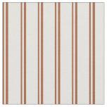 [ Thumbnail: Sienna & Light Cyan Colored Stripes Pattern Fabric ]