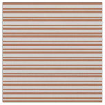 [ Thumbnail: Sienna & Light Gray Colored Stripes/Lines Pattern Fabric ]