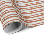 [ Thumbnail: Sienna & Light Gray Colored Stripes/Lines Pattern Wrapping Paper ]
