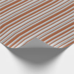 [ Thumbnail: Sienna, Light Gray & Dark Grey Lines Wrapping Paper ]