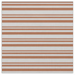 [ Thumbnail: Sienna & Light Gray Stripes/Lines Pattern Fabric ]