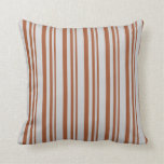 [ Thumbnail: Sienna & Light Gray Stripes/Lines Pattern Pillow ]