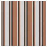 [ Thumbnail: Sienna, Light Grey, and Black Colored Pattern Fabric ]