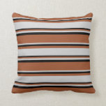[ Thumbnail: Sienna, Light Grey, and Black Colored Pattern Throw Pillow ]