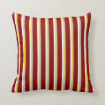 [ Thumbnail: Sienna, Light Grey, Yellow, White & Dark Red Throw Pillow ]