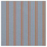 [ Thumbnail: Sienna & Light Slate Gray Stripes Pattern Fabric ]