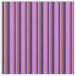 [ Thumbnail: Sienna, Midnight Blue, and Orchid Colored Pattern Fabric ]
