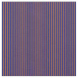[ Thumbnail: Sienna & Midnight Blue Colored Stripes Fabric ]