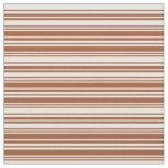 [ Thumbnail: Sienna & Mint Cream Stripes Pattern Fabric ]