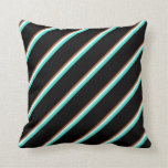 [ Thumbnail: Sienna, Mint Cream, Turquoise & Black Pattern Throw Pillow ]