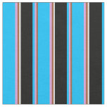 [ Thumbnail: Sienna, Plum, Deep Sky Blue, Black & White Colored Fabric ]