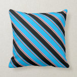 [ Thumbnail: Sienna, Plum, Deep Sky Blue, Black & White Colored Throw Pillow ]