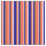 [ Thumbnail: Sienna, Red, Pink, and Dark Blue Colored Lines Fabric ]