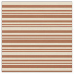 [ Thumbnail: Sienna & Tan Colored Lines Pattern Fabric ]