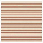 [ Thumbnail: Sienna & Tan Stripes/Lines Pattern Fabric ]