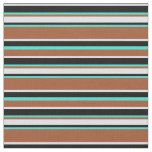 [ Thumbnail: Sienna, Turquoise, Black, and Lavender Stripes Fabric ]