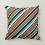[ Thumbnail: Sienna, Turquoise, Black, and Lavender Stripes Throw Pillow ]