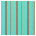 [ Thumbnail: Sienna & Turquoise Lined Pattern Fabric ]