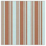 [ Thumbnail: Sienna & Turquoise Stripes Fabric ]