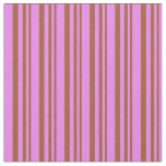 [ Thumbnail: Sienna & Violet Colored Lined/Striped Pattern Fabric ]