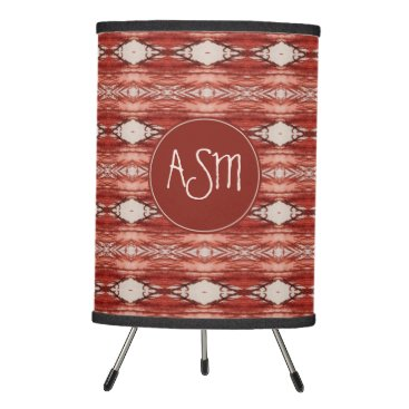Aztec Themed Sienna Watercolor Aztec Tribal Pattern | Monogram Tripod Lamp