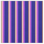 [ Thumbnail: Sienna, White, Hot Pink, Purple & Blue Lines Fabric ]