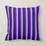 [ Thumbnail: Sienna, White, Hot Pink, Purple & Blue Lines Throw Pillow ]