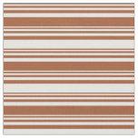 [ Thumbnail: Sienna & White Pattern of Stripes Fabric ]
