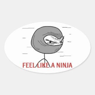 Sienta como un Ninja Pegatina Ovalada