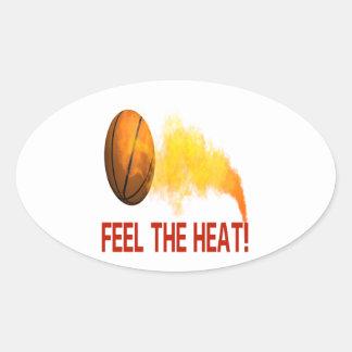 Sienta el calor pegatina ovalada