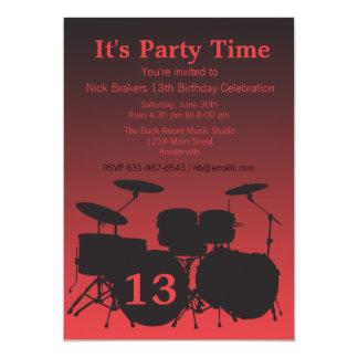 Sienta la invitación del tambor del golpe invitación 12,7 x 17,8 cm