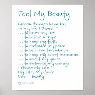 Sienta mi texto del poema del cáncer de la belleza posters