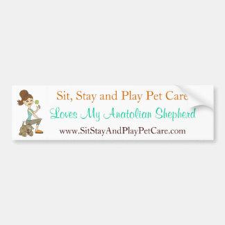 Siéntese, amor del cuidado de animales de compañía etiqueta de parachoque